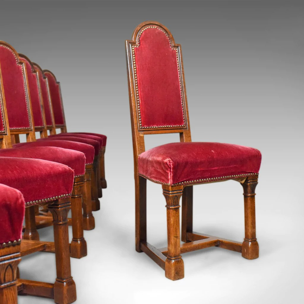 Red Upholstered Dining Chairs Antique Set Of Eight Dining Chairs English Oak Red Victorian Gothic C1860