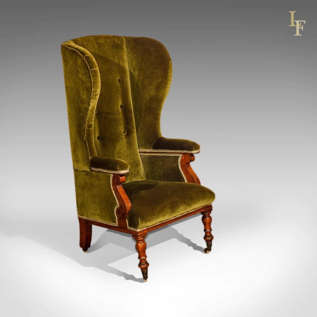 high back velvet chair uk felt glides antique wing victorian green c 1850
