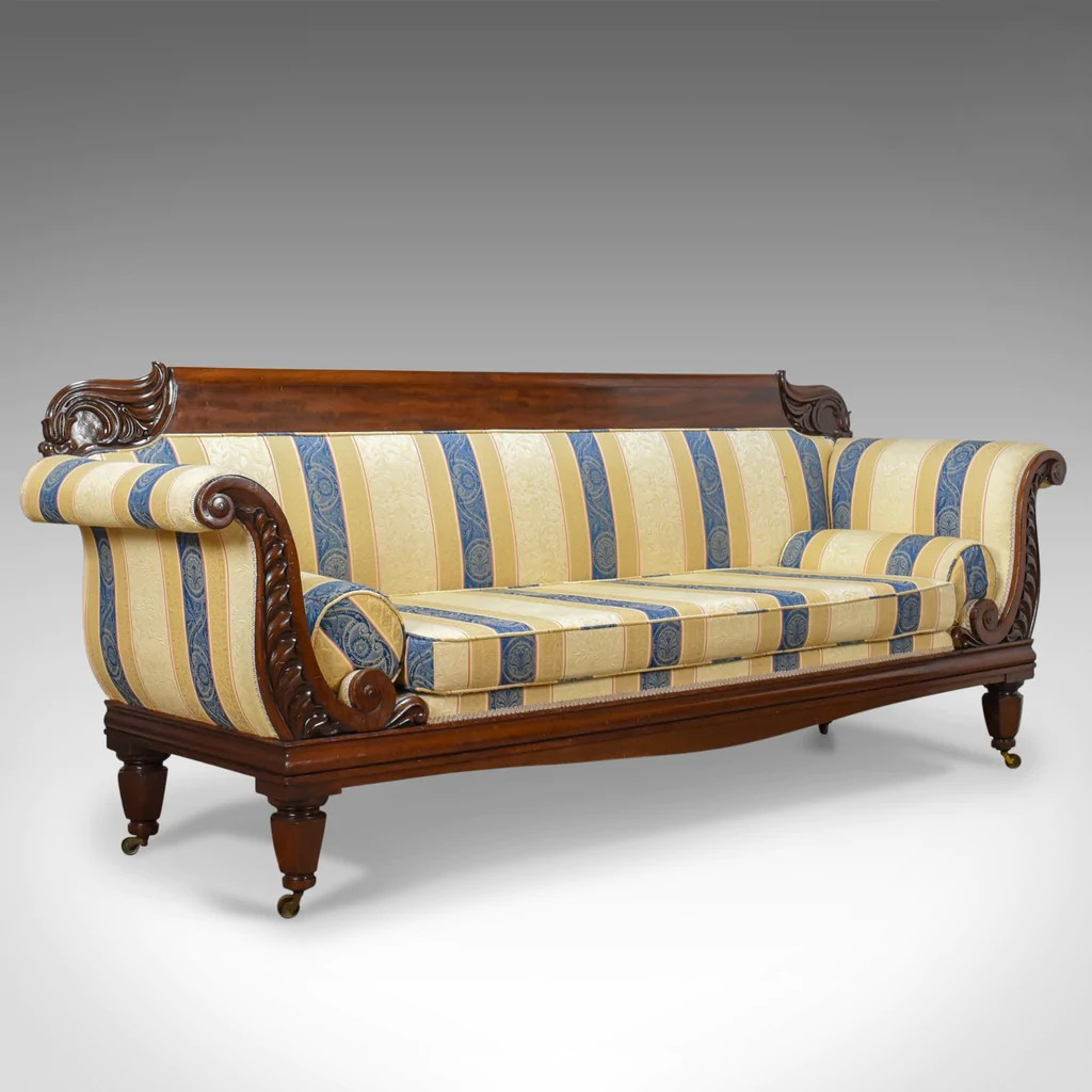 deep sofa daybed sofas y sillones precios large antique scroll end settee regency mahogany