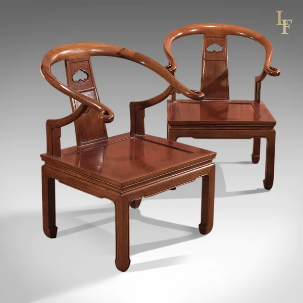 Pair of Chinese Chairs Mid Century George Zee  Co