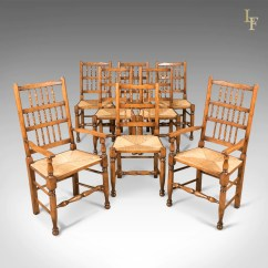 Set Of 8 Dining Chairs That Rock And Swivel Lancashire Spindleback English