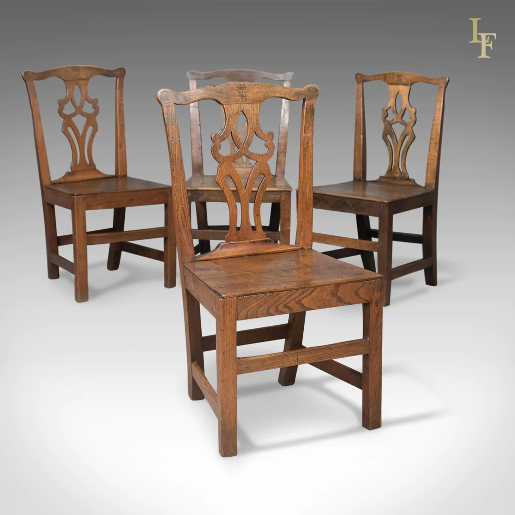 Set Of 4 Kitchen Chairs Set Of 4 Antique Dining Chairs Oak And Elm English