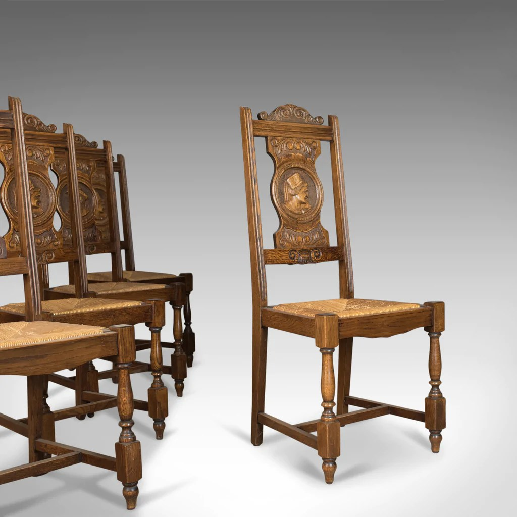 Country Kitchen Chairs Set Of Five Antique Dining Chairs Flemish Country Kitchen Oak Rush Circa 1910