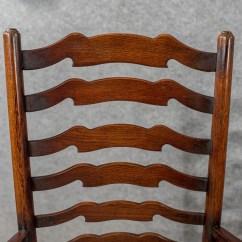 Antique Ladder Back Chairs Uk Swivel Chair Kid Set Of Six Oak Wavy Line Ladderback Dining