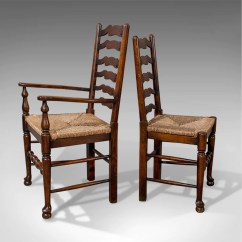 Antique Chairs Ebay Gliding Chair And Ottoman Set Of Six Oak Wavy Line Ladderback Dining