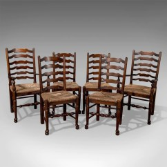 Antique Ladder Back Chairs Uk Bedroom Chair Name Set Of Six Oak Wavy Line Ladderback Dining