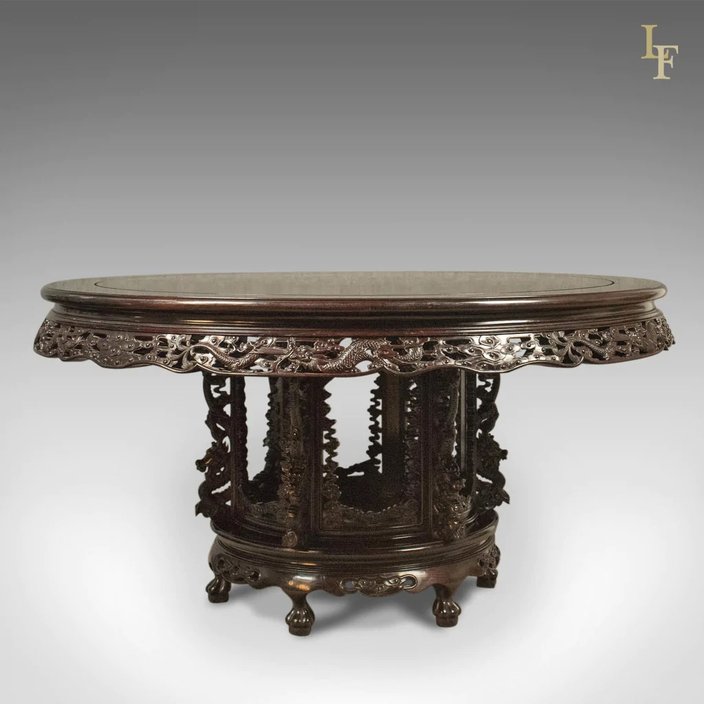 chinese rosewood dining table and chairs luxury leather office uk traditional oriental set of 6 carved late c20th