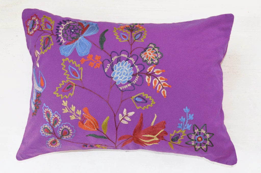 purple floral embroidered accent pillow