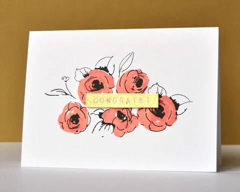 Painted flowers card