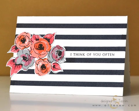 Stripes and flowers card 1