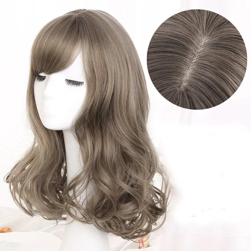 Yiyaobess Medium Long Synthetic Linen Grey Wig Natural Hair