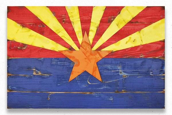 Arizona Vintage Wood Flag Patriot Wood
