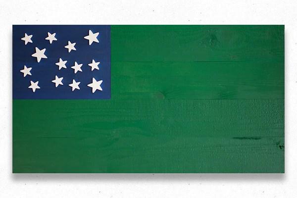 Green Mountain Boys Wood Flag  Patriot Wood