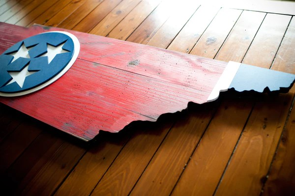 Tennessee State Shaped Wood Flag  Patriot Wood