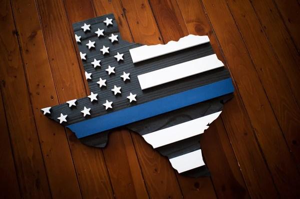 Thin Blue Line Texas Wood Flag  Patriot Wood