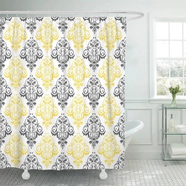 rideau de douche jaune et gris
