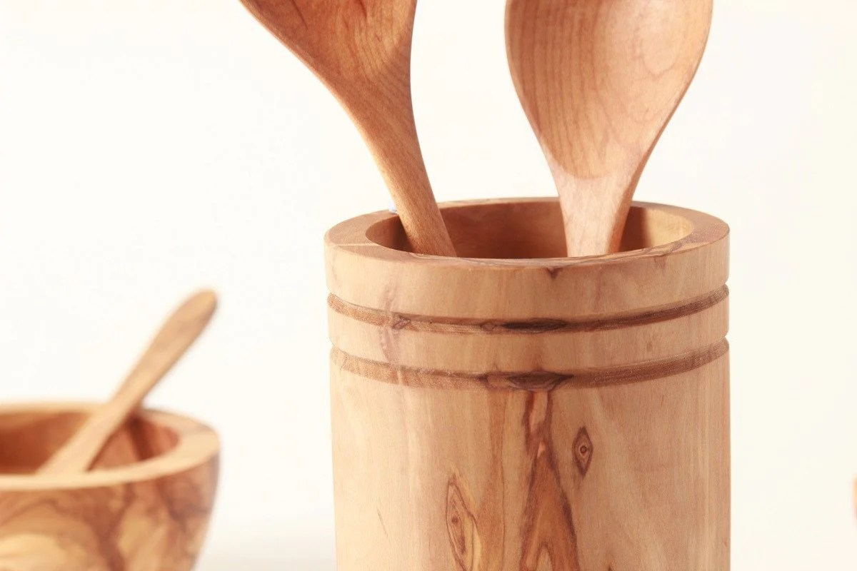 kitchen tool holder upper cabinets with glass doors utensil nh bowl and board new hampshire olive wood