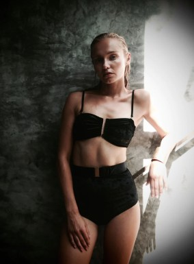 Brigit Bandeau Bikini Top Black Crushed Velvet