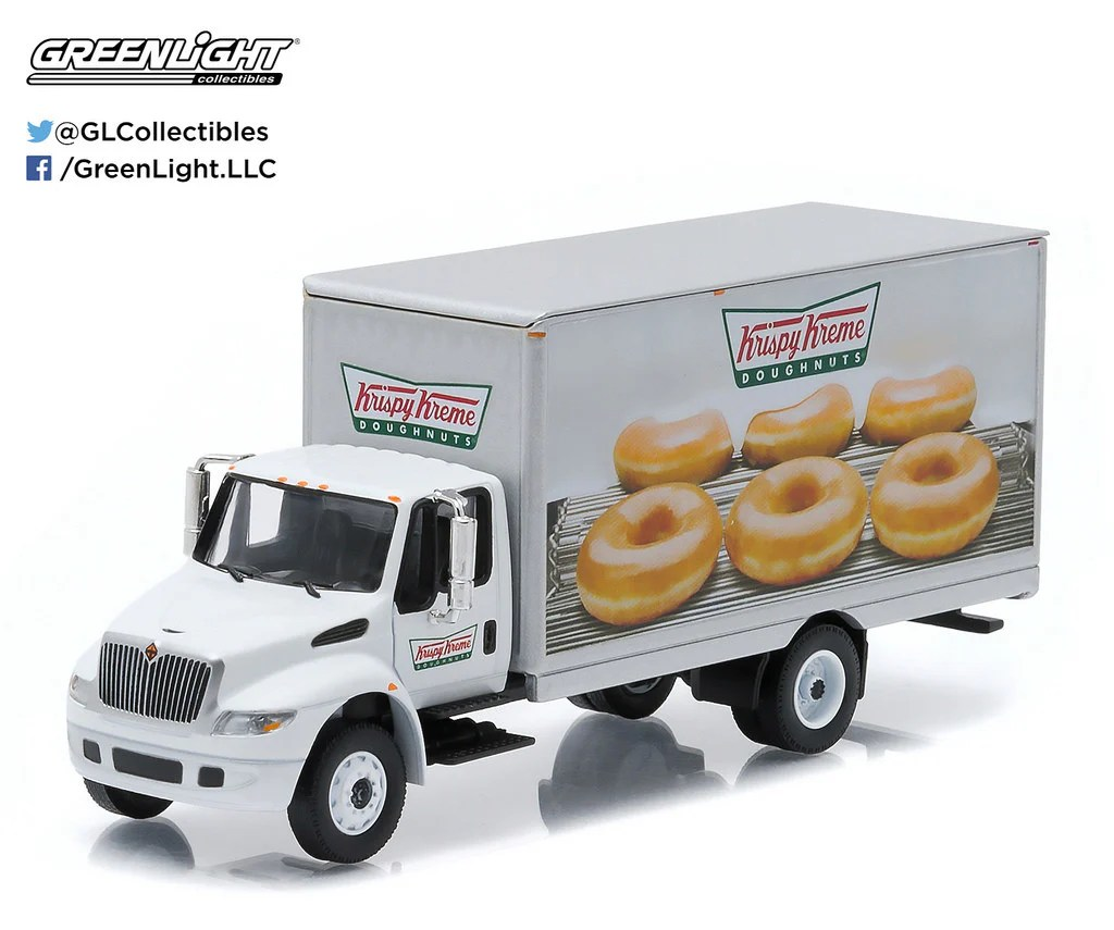 1 64 scale diecast krispy kreme donuts delivery 2013 international durastar box truck by greenlight part of h d truck series 4 1 64 scale or about 5 5 l  [ 1024 x 855 Pixel ]