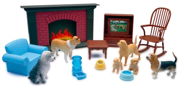 My Best Friend Dog Figures with Living Room Accessory