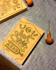 linocut ukulele greeting card