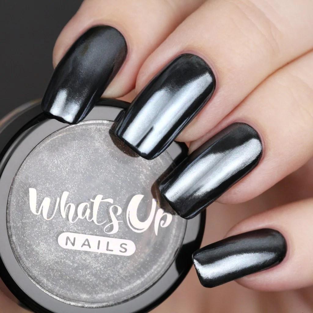 whats nails - black chrome powder