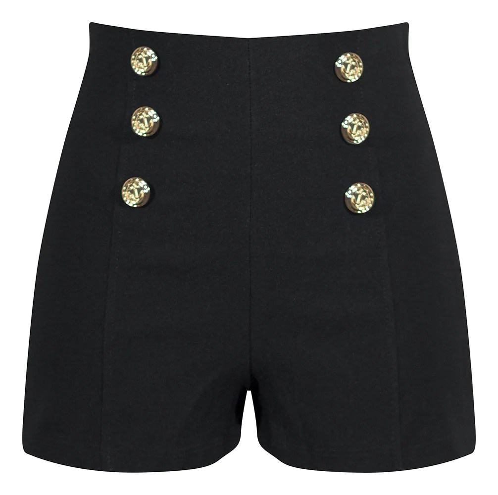 High Waisted Shorts With Anchor Buttons In Black - Sailor