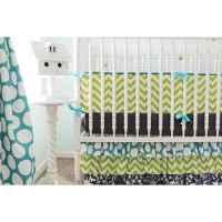 Chevron Damask Baby Bedding   Lime, Navy Crib Bedding Set ...