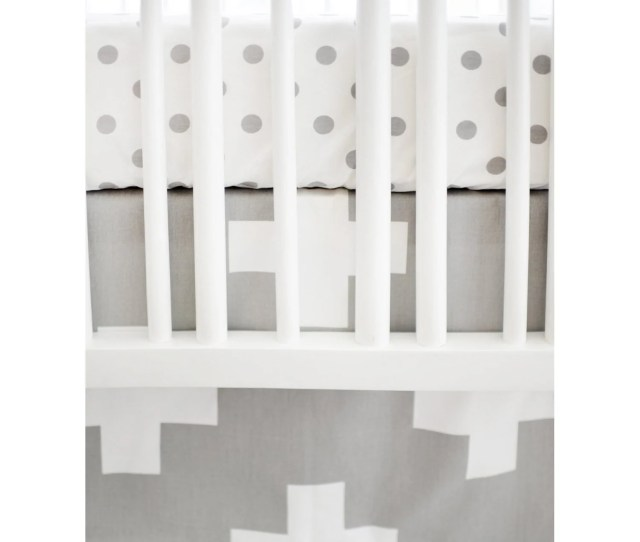 Gray White Swiss Cross Modern Baby Bedding Set Crib Bedding Set Default