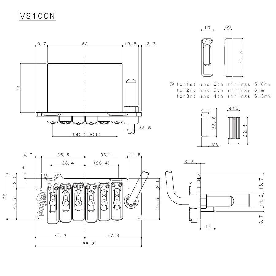 hight resolution of  guitar bridge wilkinson licensed vs100g tremolo 2 1 8 inch string spacing