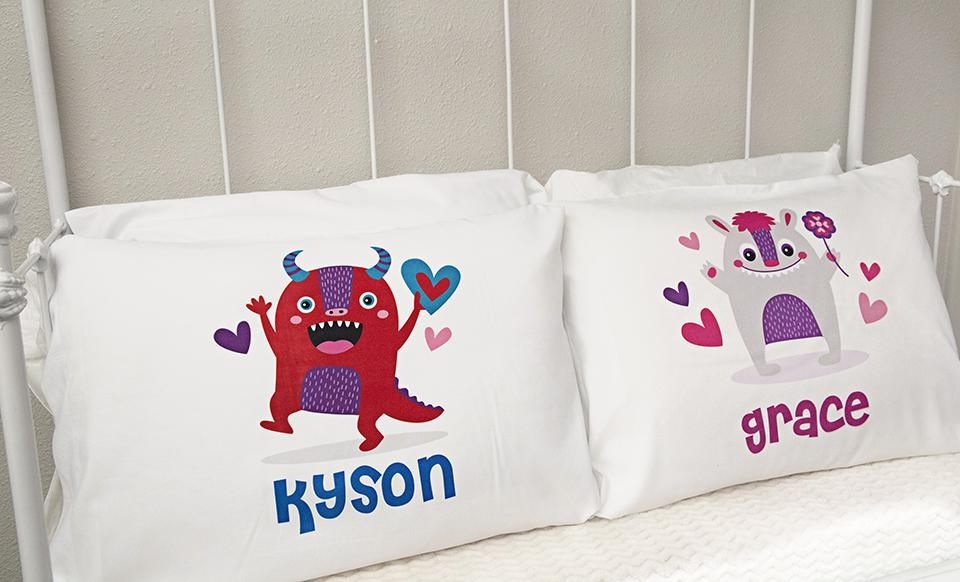 personalized love themed pillowcases for kids