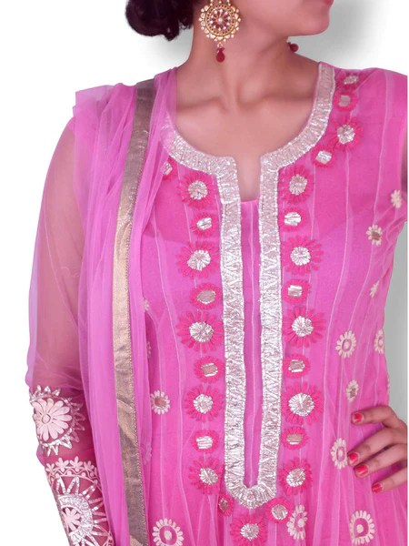 Pink Shaded Net Anarkali with GoldSilver Gota Work  Sweta Sutariya
