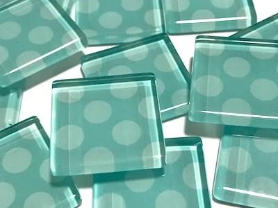 teal large dots glass mosaic tiles 2 5cm hm