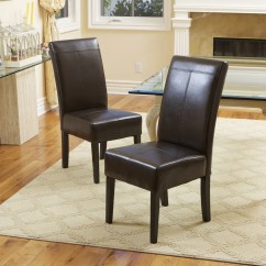 Chocolate Leather Dining Chairs Toro Lounge Chair Emilia Brown Set Of 2
