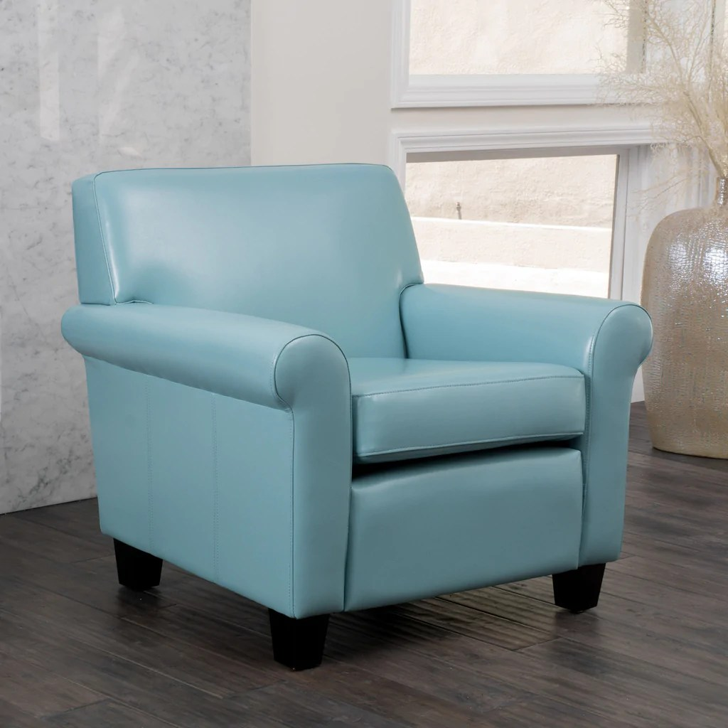 Blue Leather Club Chair Addison Teal Blue Leather Club Chair Great Deal