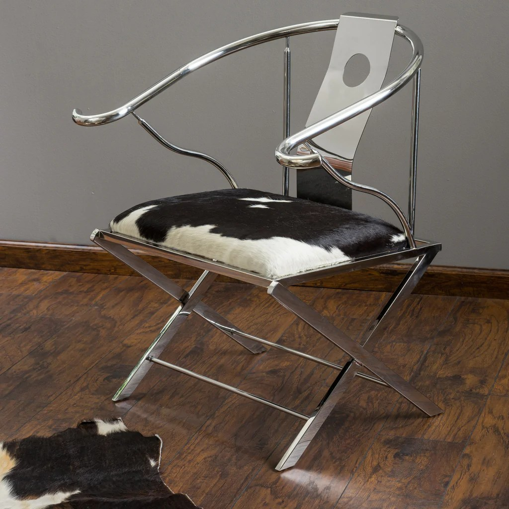 white leather accent chair canada most expensive sold quentin stainless steel black and cowhide