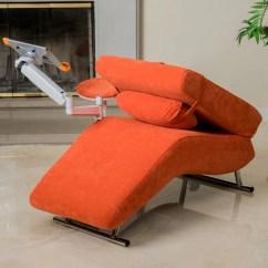 Ipad Stand For Chair Folding Wooden Directors Eason Burnt Orange Velvet Adjustable Chaise Style