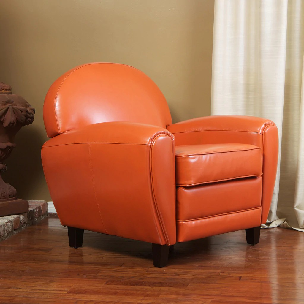 Orange Leather Chair Hayley Burnt Orange Leather Club Chair Great Deal