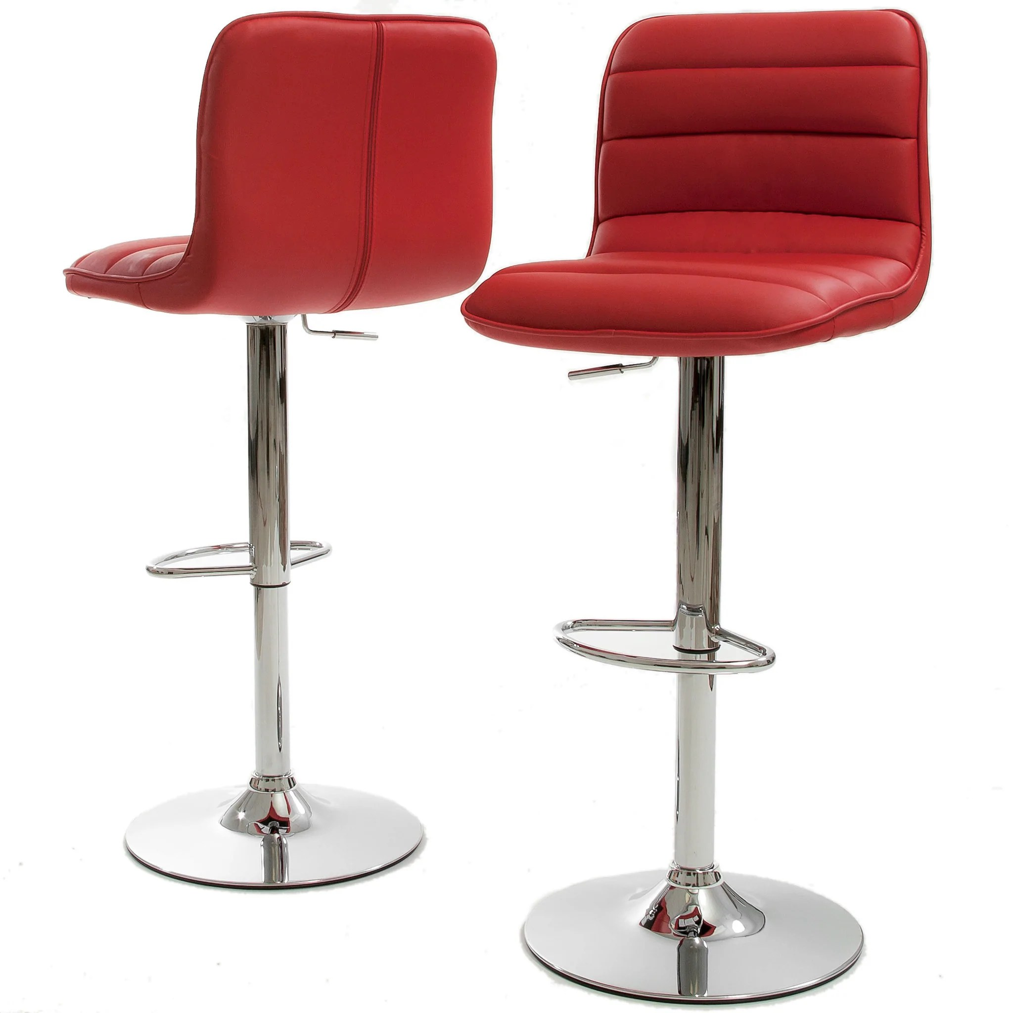Red Bar Chairs Abs Tractor Seat Adjustable Bar Stools Swivel Chrome