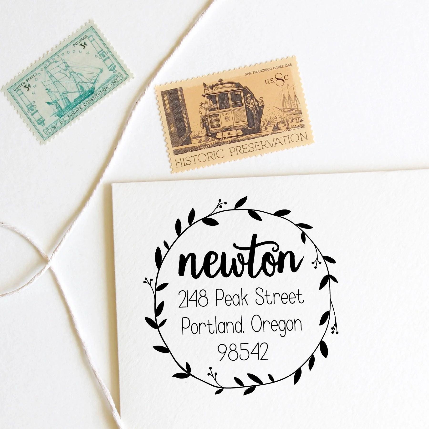return address stamp round