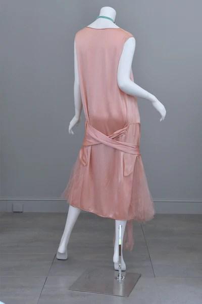 1920s Deco Pink Satin and Tulle Ballerina Flapper Dress  VintageVirtuosa