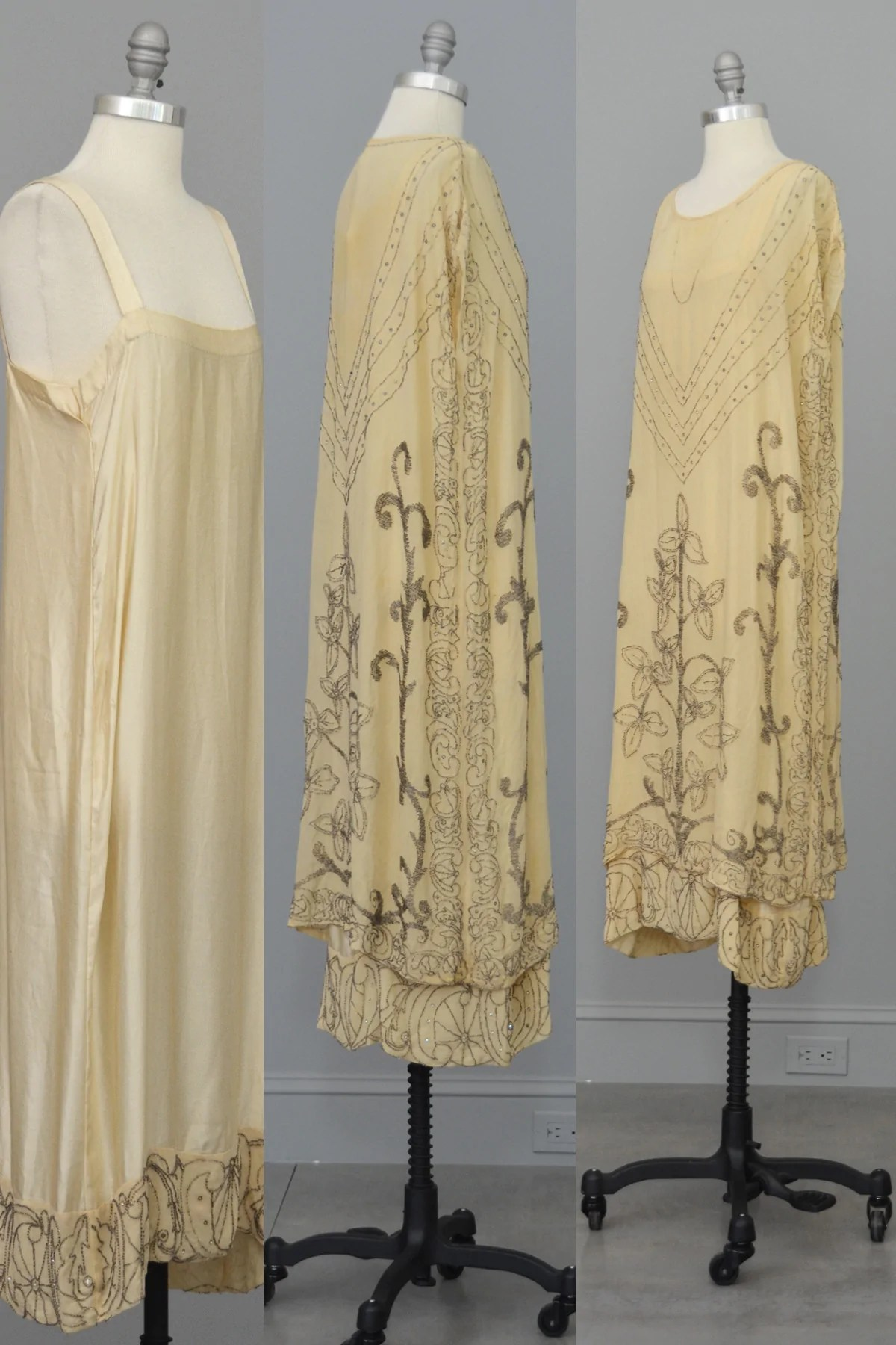 Authentic 1920s Cream Silk Beaded Two Piece Flapper