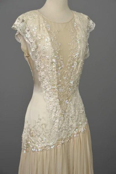 Vintage 80s 90s Beaded Lace Silk Chiffon Flapper Dress  VintageVirtuosa