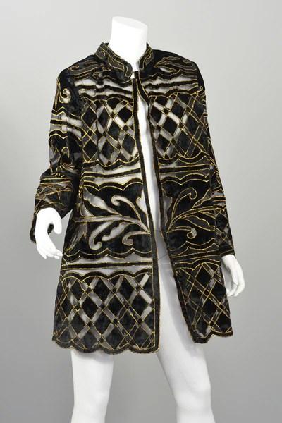 70s Deco Cut Velvet Gold Lame Evening Jacket Duster Swing