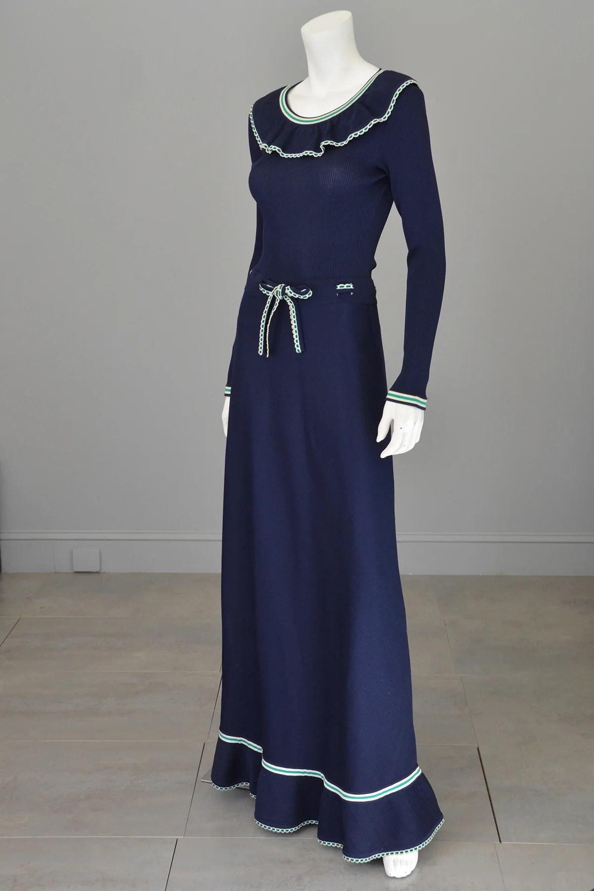 Navy Blue Knit Maxi Dresses