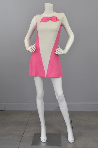 Vintage 1960s Pink White Colorblock Twiggy Micro Mini Dress RESERVED  VintageVirtuosa