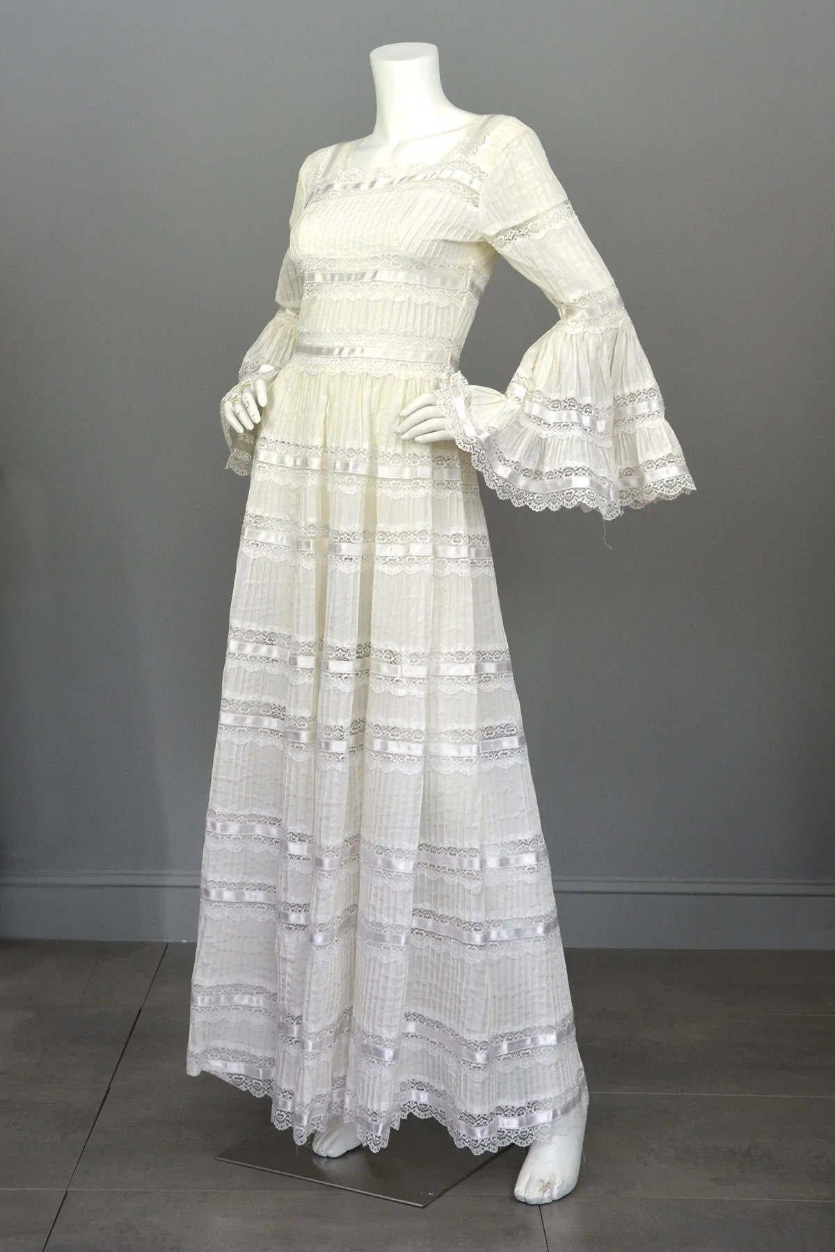 1970s Vintage Mexican Wedding Dress with Bell Sleeves and Lace  VintageVirtuosa