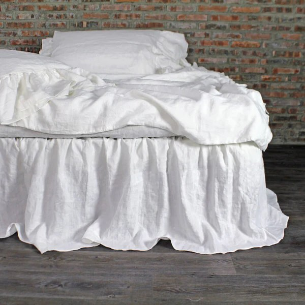 Ruffled Washed Linen Bed Skirt Gathered Dust Bed Sheets By Linenshed