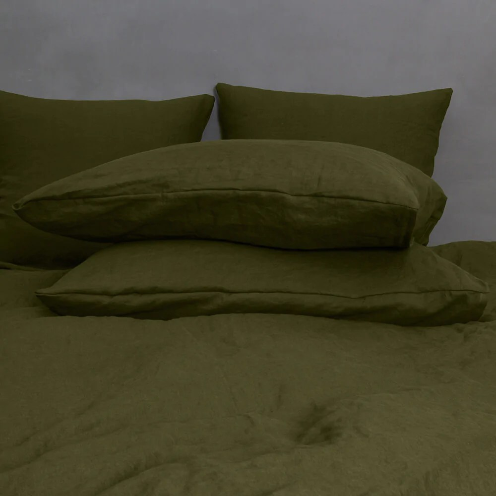 housewife linen pillowcases pair green olive