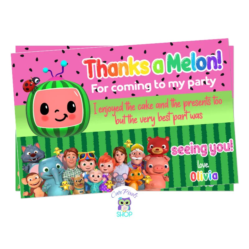 cocomelon thank you card red or pink card